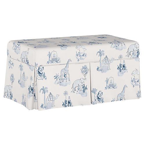 Toile Storage Bench, Blue