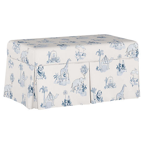 Toile Storage Bench, Blue