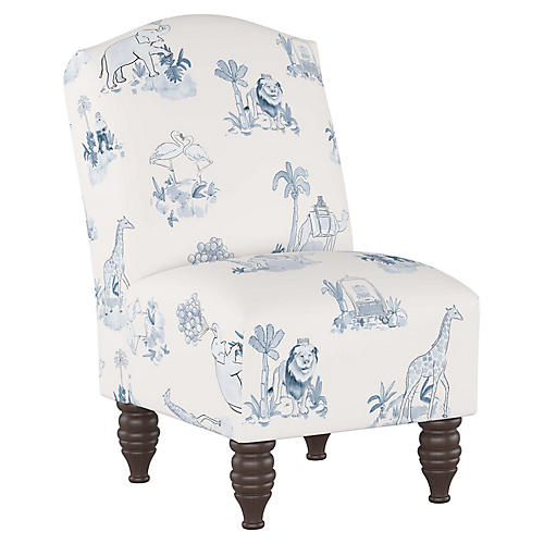 Toile Kids' Chair, Blue