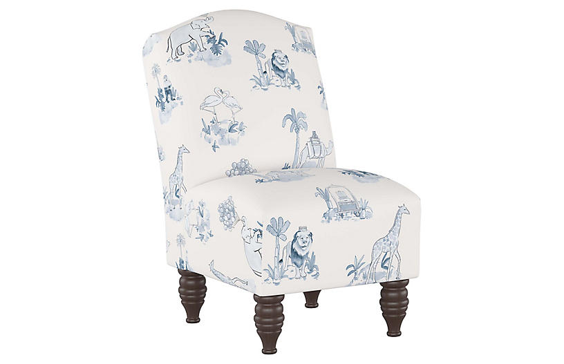 Tremendous Toile Kids Chair Blue Machost Co Dining Chair Design Ideas Machostcouk