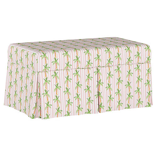 Palm Tree Stripe Storage Bench, Pink