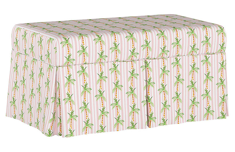 Palm Tree Stripe Storage Bench, Pink