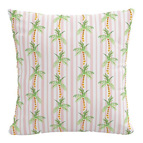 Palm Tree 20x20 Pillow, Pink Stripe