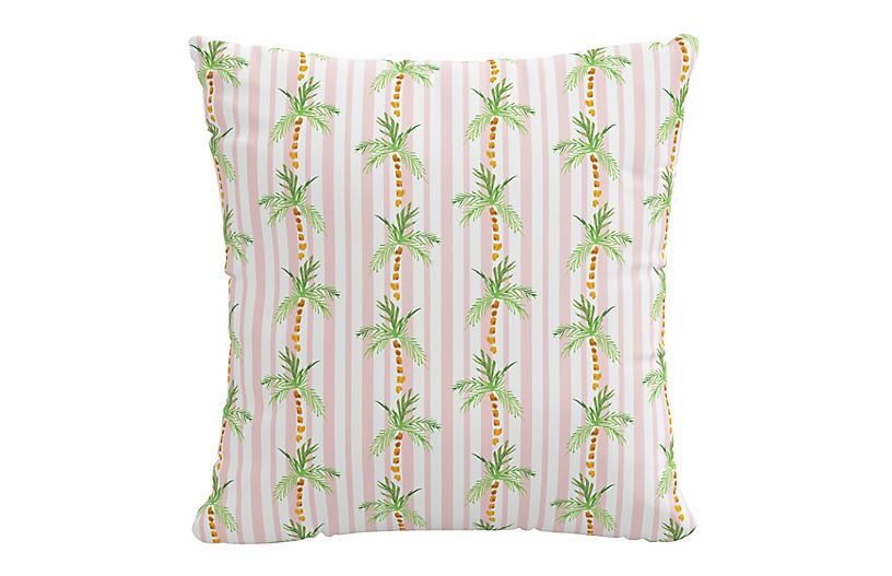 Palm Tree 20x20 Pillow, Pink Stripe