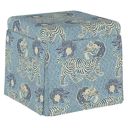 Anne Skirted Storage Ottoman, Blue Lion