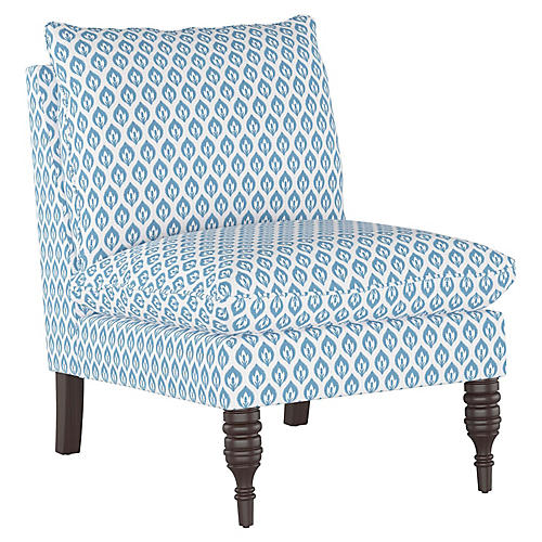 Daphne Slipper Chair, Chambray Floral