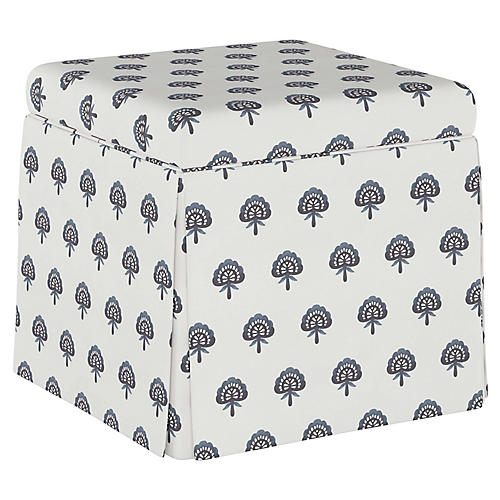 Anne Skirted Storage Ottoman, Indigo Floral