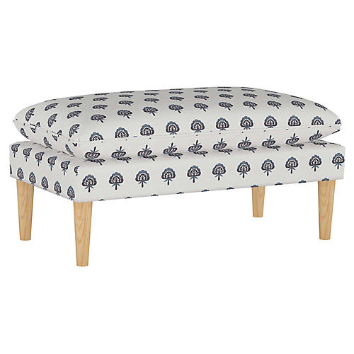 Eva Pillow-Top Bench, Indigo Floral