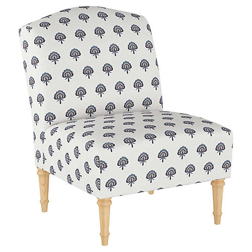 Clark Slipper Chair, Indigo Floral