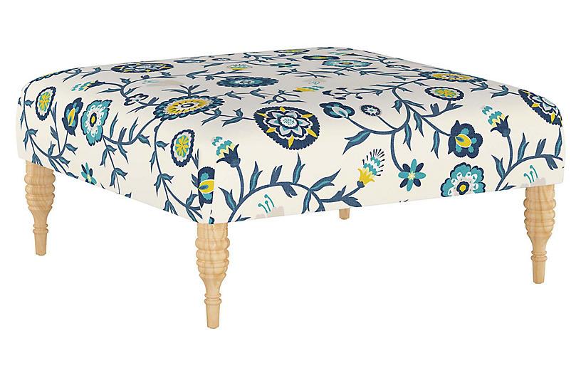 Ian Cocktail Ottoman, Peacock Floral