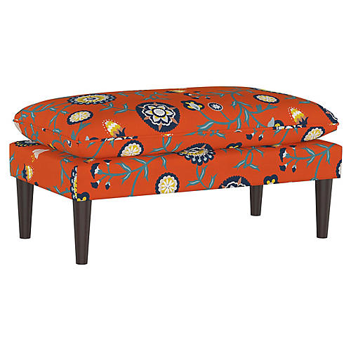Eva Pillow-Top Bench, Persimmon Floral