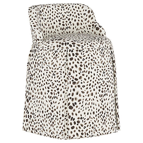 Addie Vanity Stool, Gray Cheetah