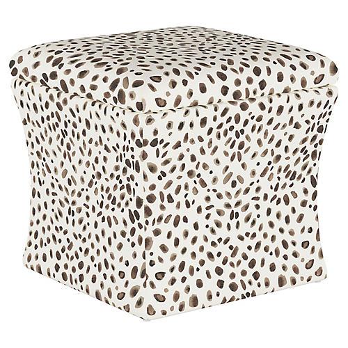 Maria Storage Ottoman, Gray Cheetah