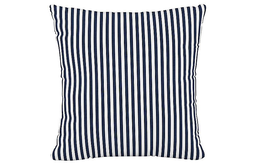 Further 20x20 Pillow, Navy Stripe