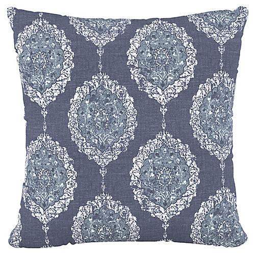 Elizabeth 20x20 Pillow, Damask Blue