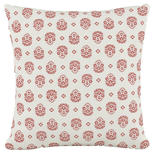 Makena Floral 20x20 Pillow, Dusty Red