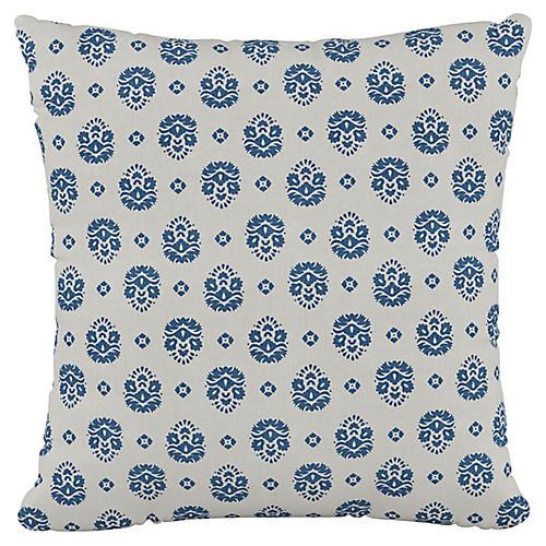 Makena Floral 20x20 Pillow, Indigo/White