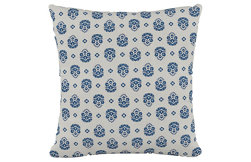 Makena Floral 20x20 Pillow, Indigo/White