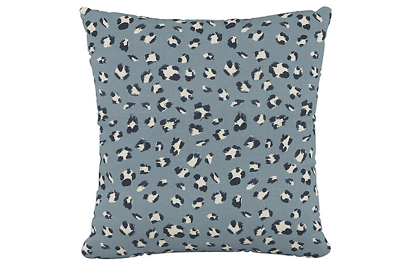 Raanan Cheetah 20x20 Pillow, Blue Brush Cheetah