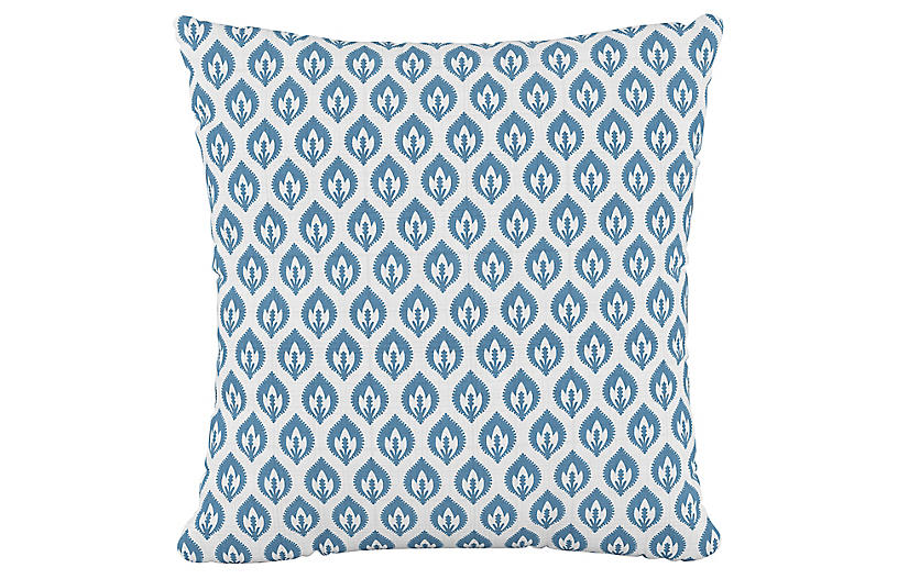 Elliot Floral 20x20 Pillow, Sky/White