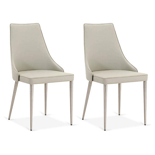 S/2 Koller Side Chairs, Light Gray