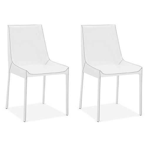 S/2 Conrad Side Chairs, White Leather
