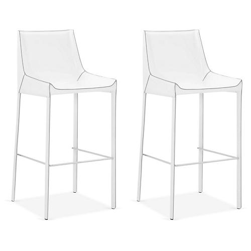 S/2 Handsel Barstools, White Leather