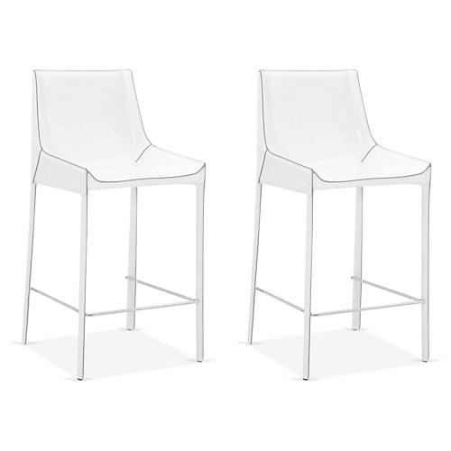 S/2 Conrad Counter Stools, White Leather
