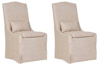 S/2 Lambert Side Chairs, Bisque Linen