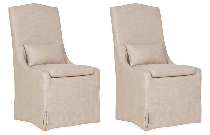 S/2 Lambert Side Chairs, Bisque Linen