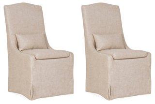 Lambert Side Chairs in Bisque Linen