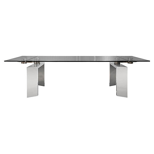 Mo Extension Dining Table, Silver