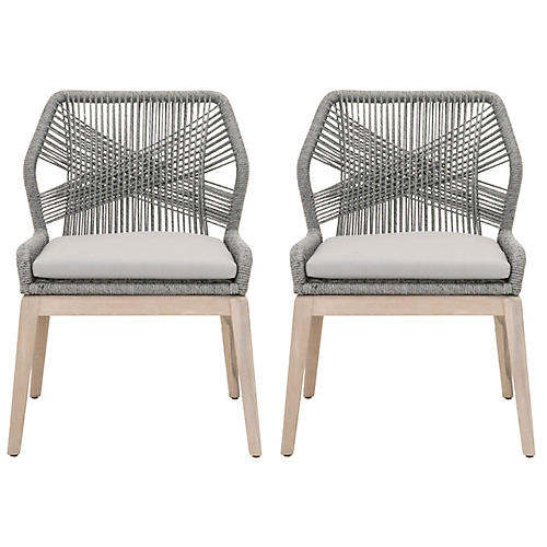 S/2 Loom Outdoor Side Chairs, Platinum