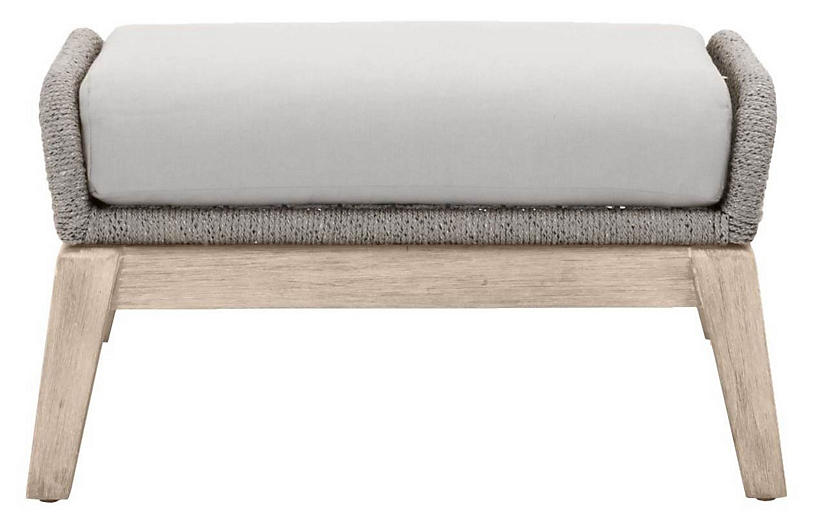 Easton Outdoor Footstool, Platinum