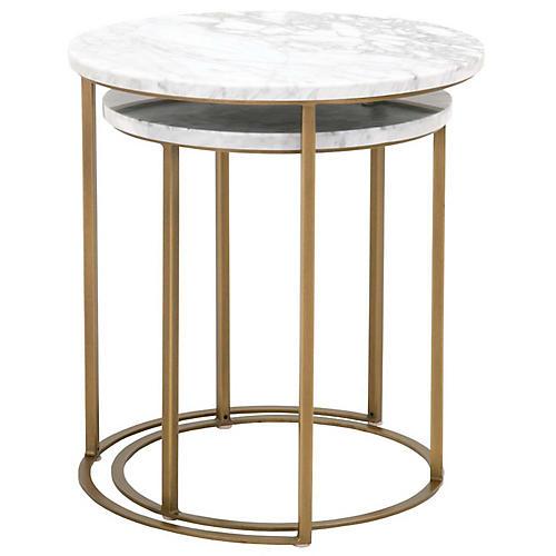 Asst. of 2 Carrera Nesting Tables, White/Gold
