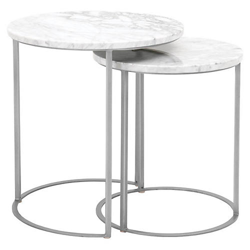 Asst. of 2 Carrera Nesting Tables, White/Silver