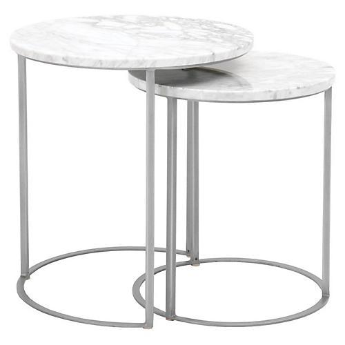Asst. of 2 Burse Nesting Tables, White/Silver