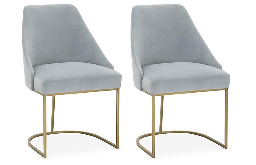 S/2 Lola Side Chairs, Coastal Velvet