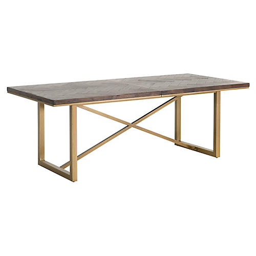 Mosaic Extension Dining Table, Rustic Java