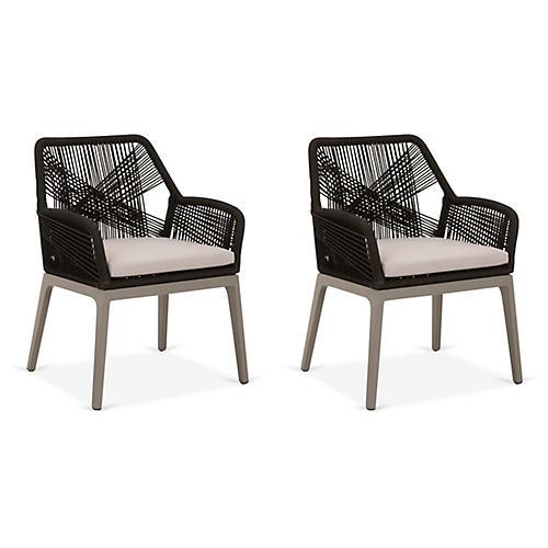 S/2 Loom Outdoor Armchairs, Black