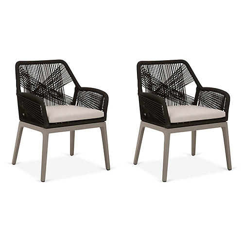 S/2 Easton Outdoor Armchairs, Black