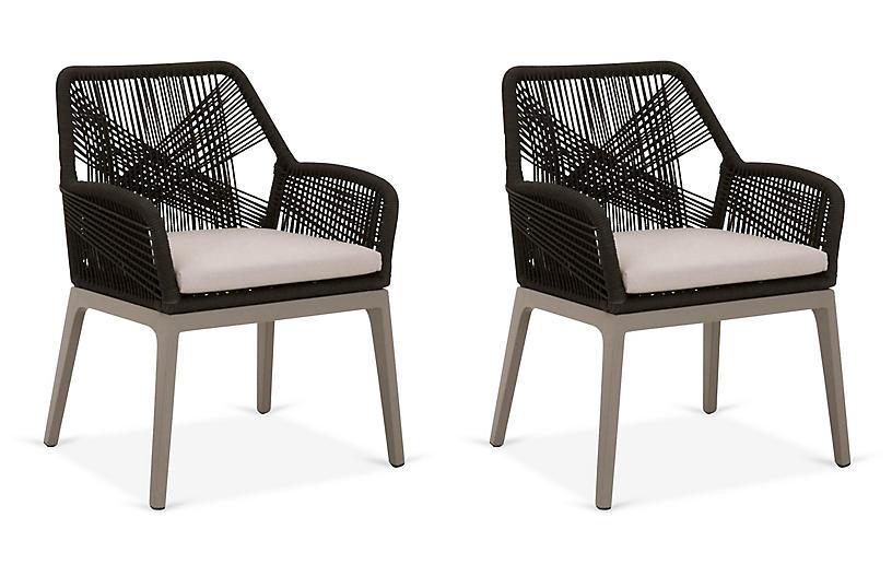 S/2 Easton Outdoor Armchairs, Black