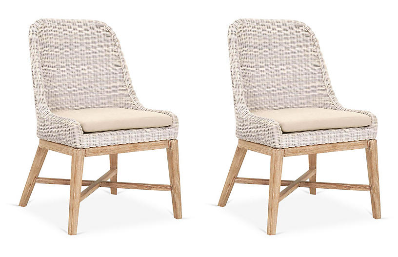 S/2 Anse Side Chairs, Stone-Washed Gray