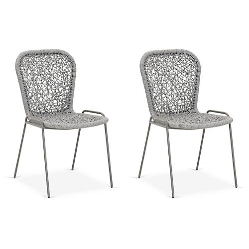 S/4 Weave Outdoor Side Chairs, Platinum