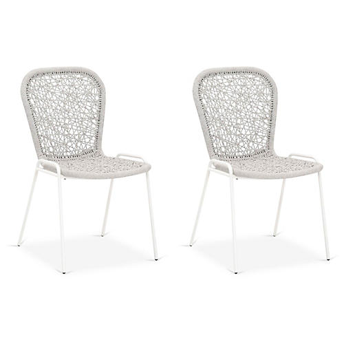 S/4 Weave Outdoor Side Chairs, Taupe/White