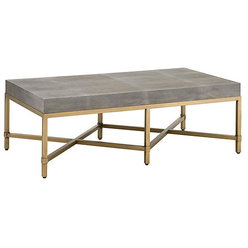 Strand Faux-Shagreen Coffee Table, Gray