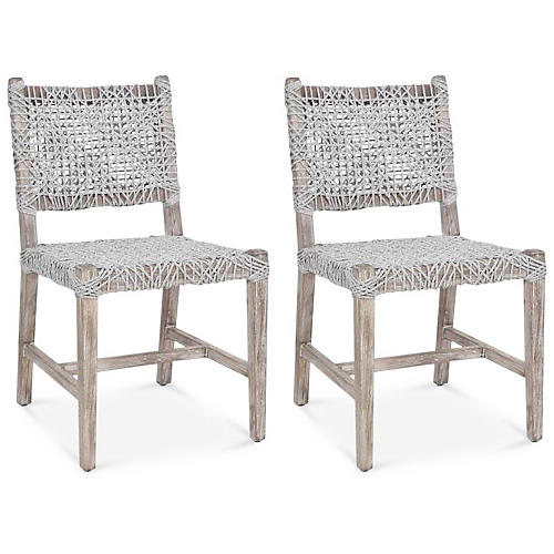 S/2 Mazo Side Chairs, Taupe/White