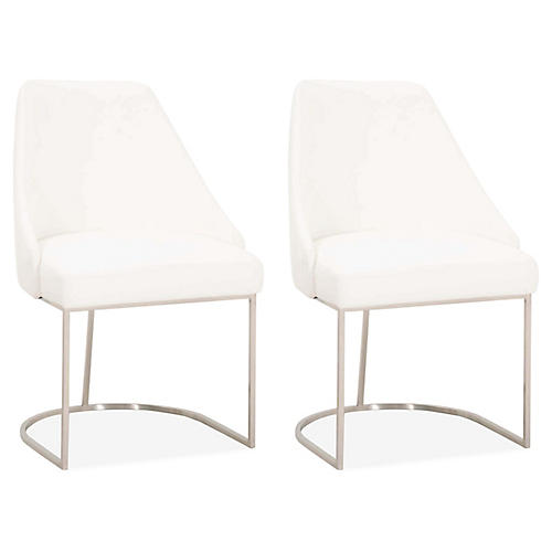S/2 Lola Side Chairs, Steel/Pearl Velvet