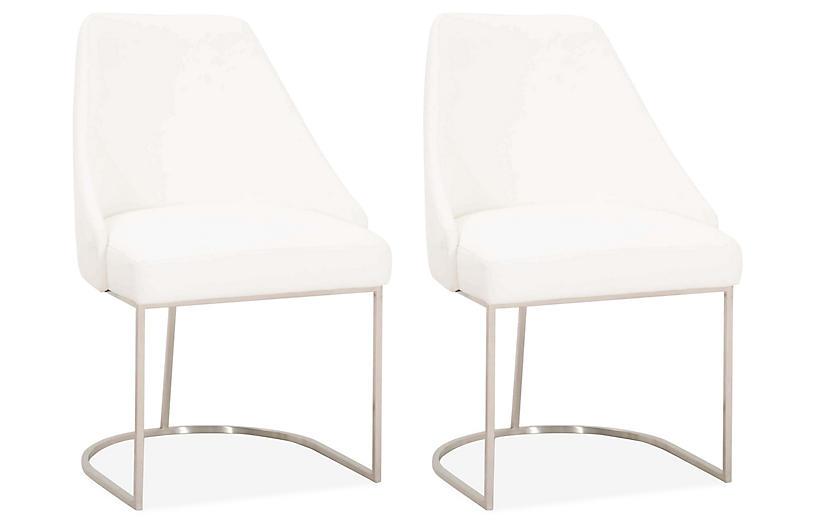 S/2 Lola Side Chairs, Steel/Pearl Velvet