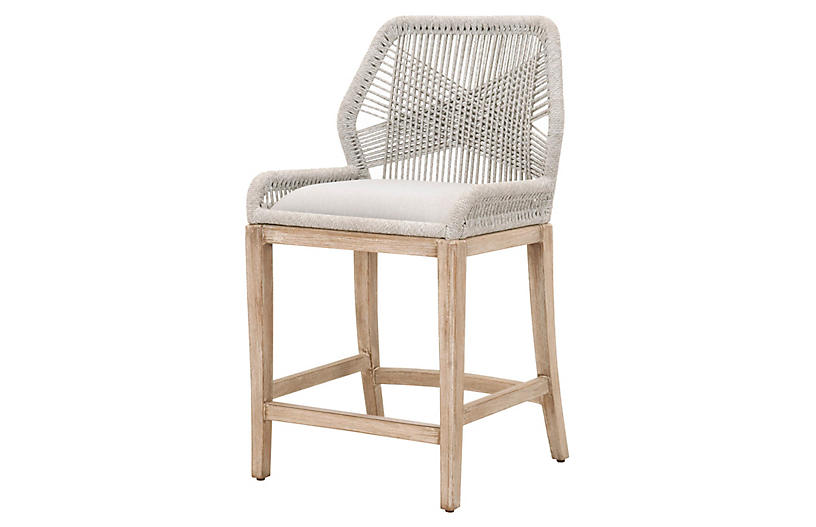 Easton Rope Counter Stool, Taupe/Pumice